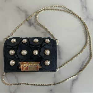 Zac Posen Navy Blue Pearl Floral Credit Card Bag
